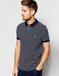 Темно-синяя футболка-поло классического кроя с принтом в тонкую полоск Jack Wills