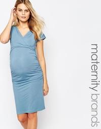 Платье с запахом и короткими рукавами Isabella Oliver - Синий