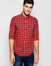Рубашка слим в темно-синюю и красную клетку Abercrombie & Fitch