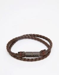 Кожаный браслет Diesel - Коричневый