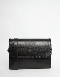 Кожаная сумка с тисненым узором Park Lane - Черный