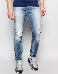 Светлые джинсы скинни с заплатками Diesel Jeans Sleenker DNA 672I