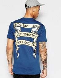 Футболка с принтом на спине Love Moschino - Синий