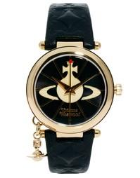 Часы с кожаным ремешком и подвеской-орбитой Vivienne Westwood VV006BKG