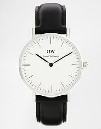 Черные классические большие часы с серебристой отделкой Daniel Welling