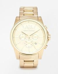 Часы-хронограф с позолоченным браслетом из нержавеющей стали Armani Ex