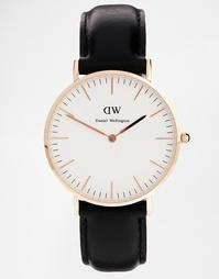 Черные классические большие часы с отделкой из розового золота Daniel