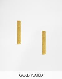 Серьги-гвоздики с длинными пластинами Pilgrim - Золотой