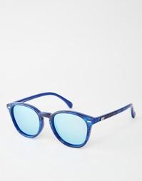 Круглые солнцезащитные очки в синей оправе Le Specs Bandwagon