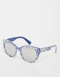 Зеркальные солнцезащитные очки кошачий глаз Dolce & Gabbana - Синий