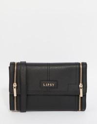 Черная сумка через плечо с двумя молниями Lipsy - Черный