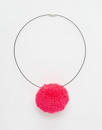 Ожерелье из черного шнура с помпоном Suzywan Sweet PomPom - Розовый