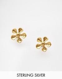 Позолоченные серьги-гвоздики с цветочным дизайном Dogeared - Золотой
