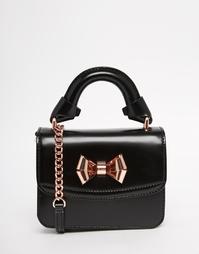 Кожаная сумка через плечо с металлическим бантиком Ted Baker - Черный
