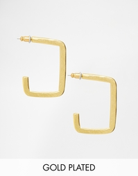 Позолоченные серьги The 2 Bandits Square Hoop - Золотой