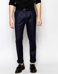 Твидовые брюки слим Sisley - Темно-синий