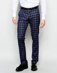 Стретчевые суперзауженные брюки в клетку Vito - Темно-синий