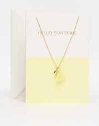 Ожерелье с открыткой Orelia Hello Sunshine - Бледно-золотистый