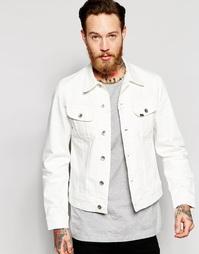 Белая стретчевая джинсовая куртка зауженного кроя Lee