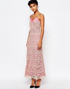 Длинное платье-майка из кружева с розовой подкладкой Self Portrait