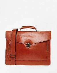 Коричневый кожаный портфель Royal RepubliQ Conductor - Коричневый