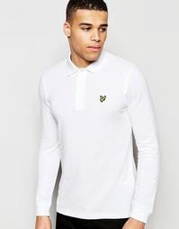 Белая футболка-поло с длинными рукавами и логотипом-орлом Lyle & Scott