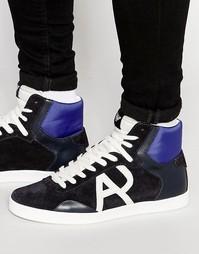 Высокие кроссовки с логотипом Armani Jeans - Синий