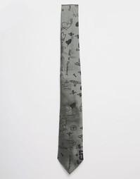 Галстук 7 см с рисунками Vivienne Westwood - Зеленый