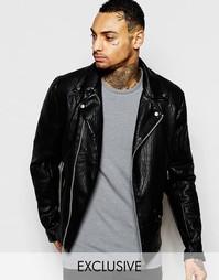 Эксклюзивная байкерская куртка из искусственной кожи Religion - Черный