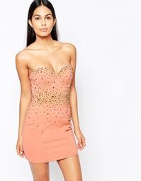 Платье с отделкой шипами и стразами Rare Opulence - Blush