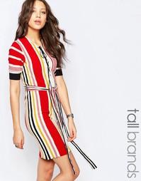 Цельнокройное платье в полоску со шнуровкой Glamorous Tall - Мульти