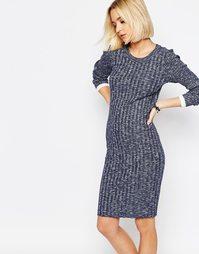 Трикотажное облегающее платье в рубчик Selected Giny