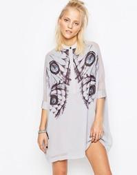 Платье-рубашка с цифровым принтом Religion Fatigue - Палома серый