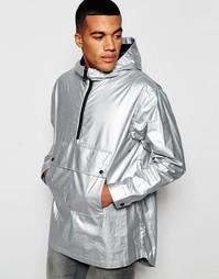 Серебристая куртка с капюшоном и карманами спереди ASOS - Серебряный