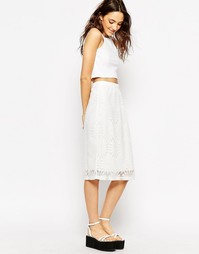 Кружевная юбка с подсолнухами Motel Katcha - Белый