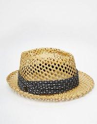 Плетеная соломенная федора Goorin - Бежевый