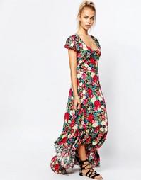Чайное платье макси с запахом и цветочным принтом Wildfox - Мульти