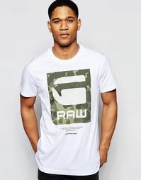 Белая футболка с круглым вырезом и камуфляжным принтом G-Star Beamrac