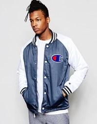 Университетская куртка с контрастными рукавами Champion - Темно-синий