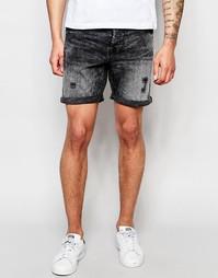 Черные выбеленные джинсовые шорты Only & Sons - Черный
