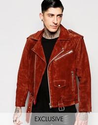 Замшевая байкерская куртка Reclaimed Vintage - Красно-бурый