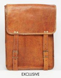 Кожаная сумка почтальона Reclaimed Vintage Tall - Рыжий