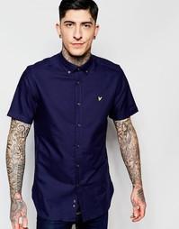 Темно-синяя оксфордская рубашка с короткими рукавами Lyle & Scott