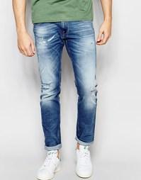 Выбеленные эластичные узкие рваные джинсы Replay Anbass Broken Edge
