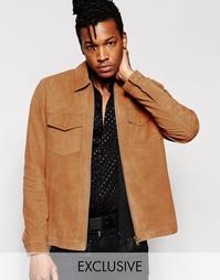 Замшевая куртка на молнии без подкладки Black Dust - Рыжий