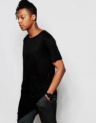 Длинная драпированная футболка Unplugged Museum - Черный