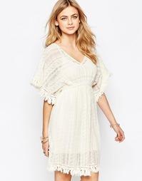 Платье с рукавом-бабочкой и кружевом Hazel - Естественный