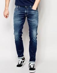Темные стретчевые джинсы слим Replay Hyperflex Anbass - Синий