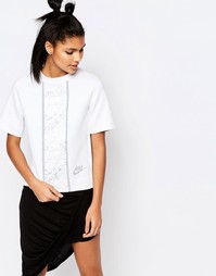 Прямая трикотажная футболка с принтом Nike Luxury - Бежевый