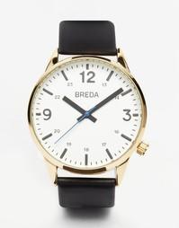 Часы с черным кожаным ремешком Breda Slate - Черный